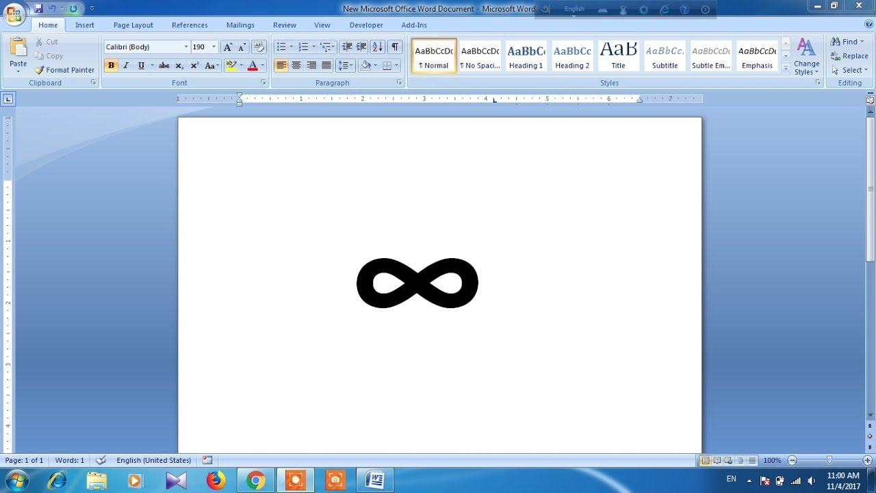 How To Type Infinity Symbol In Word Youtube