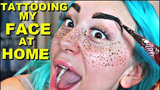 TATTOOING MY FACE & EYEBROWS @ HOME