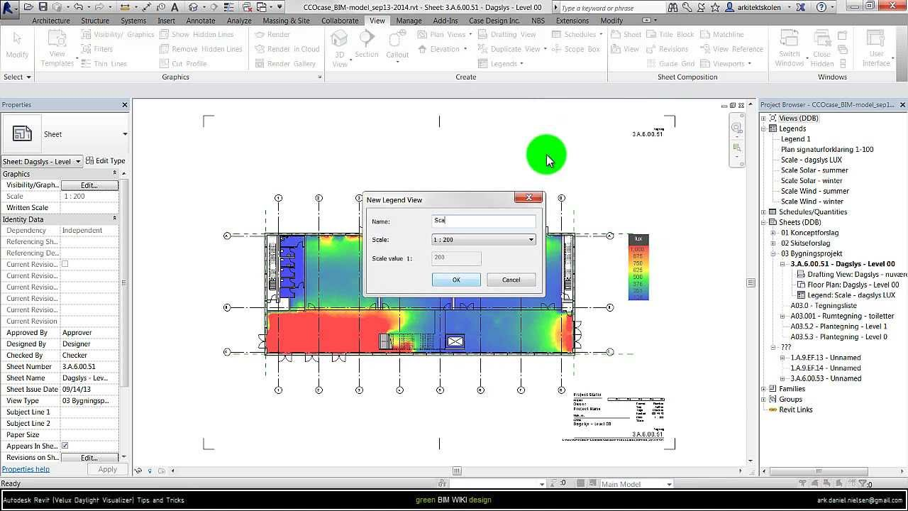 Velux Reference avec autodesk revit (velux daylight visualizer) - setup color scale