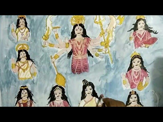 drawing Nav Durga(Parvati) - pooja sharma as Nav Durga -by sahani art