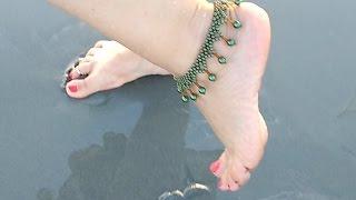 Tornozeleira de Pérolas Verde Jade – Maguida Silva