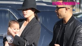 John Legend & Chrissy Teigen Take Baby Luna Out For Lunch At Au Fudge Restaurant 1.16.17