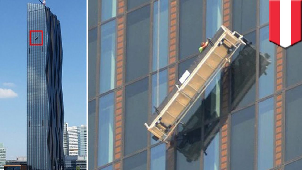 dangerous jobs window cleaners left hanging 48 floors up at donau city tower 1 in vienna austria - Window Cleaner Job Description