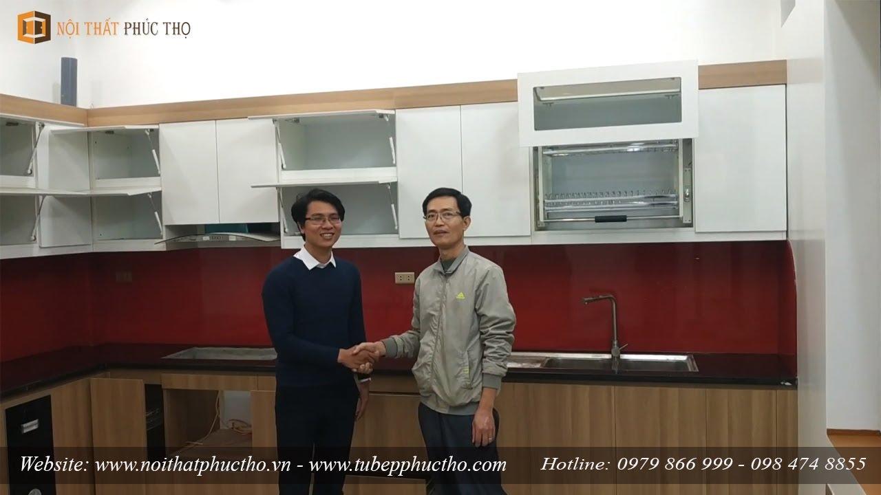 Tủ Bếp Melamine An Cường code MDF lõi xanh chống ẩm – Anh Hùng – Sơn Tây (Nhà KH đã có sẵn bệ bếp)