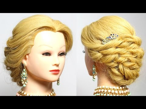Bridal updo. Wedding prom hairstyles for long medium hair. Tutorial