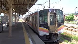 六日町駅 上越線E129系長岡行発車 サービス汽笛あり 2019.6.4