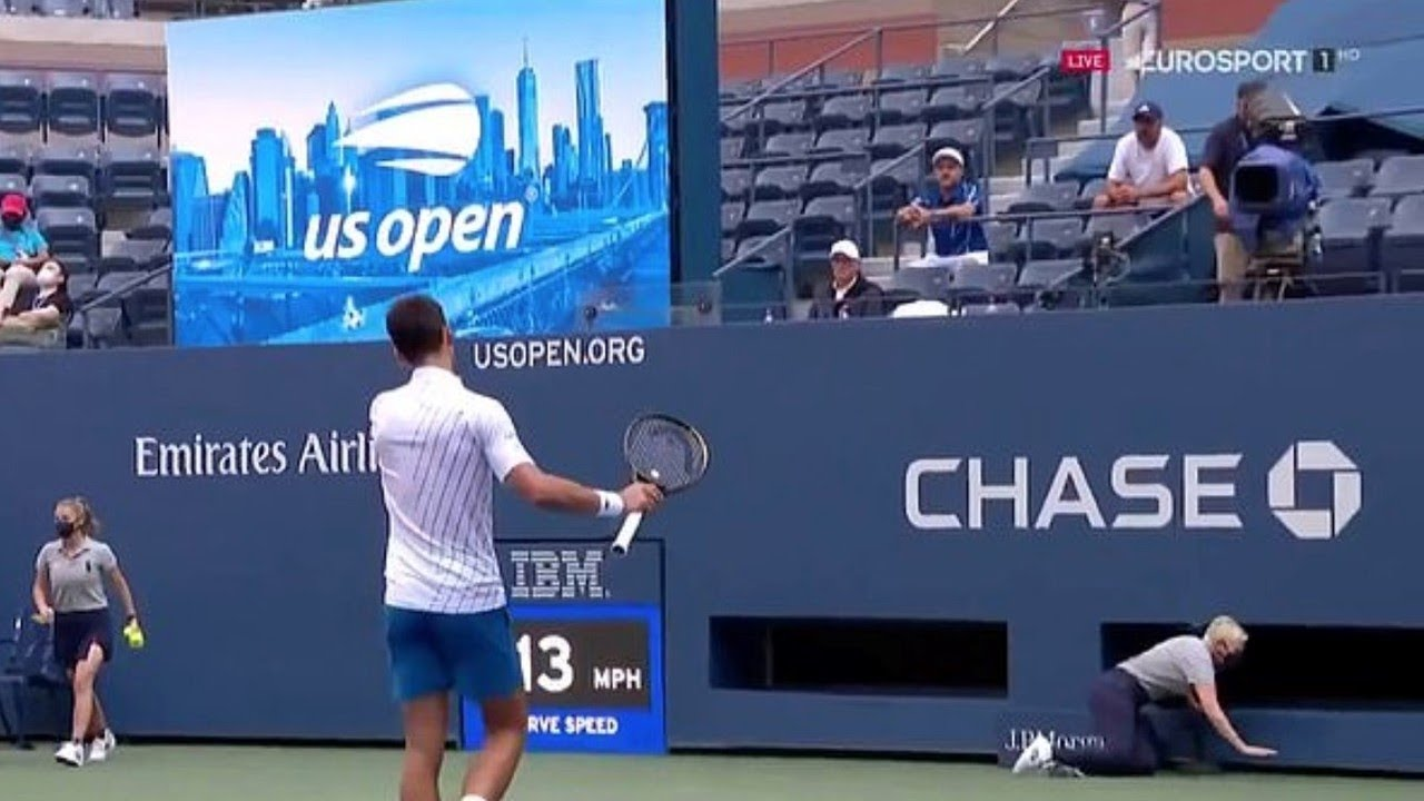 Djokovic Disqualified From Us Open Youtube