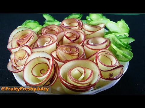 Download Art In Apple Flower Design - How To Make Apple Rose Garnish Images