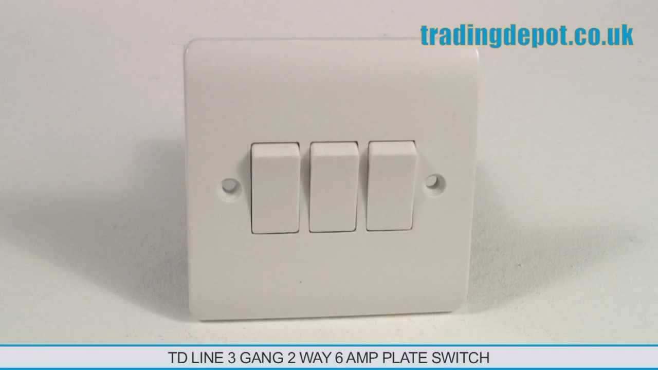 TRADING DEPOT TD Line 3 Gang 2 Way 6 Amp Plate Switch Part no