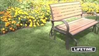 60055 Outdoor Park Rocking/gliding Bench With Simulated Wood