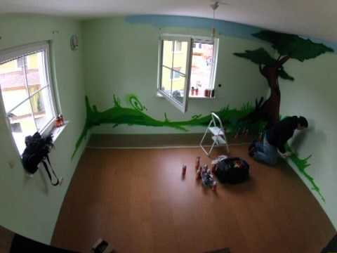 kinderzimmer auftrags graffiti youtube. Black Bedroom Furniture Sets. Home Design Ideas
