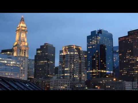 Boston Financial District Skyline Sunset Time Lapse