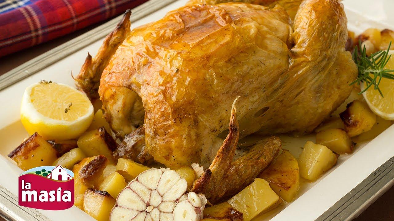 Receta de pollo asado con patatas al horno youtube - Pollo al horno con limon y patatas ...