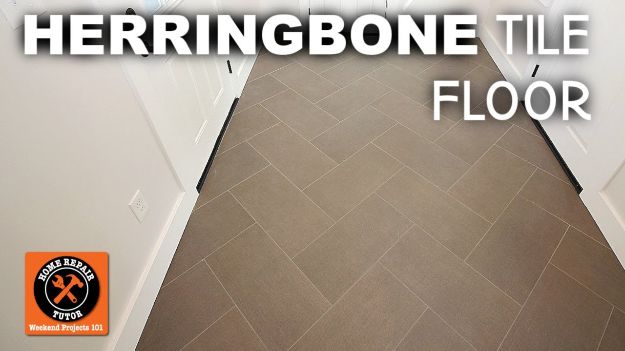 how to install herringbone tile floor before and after