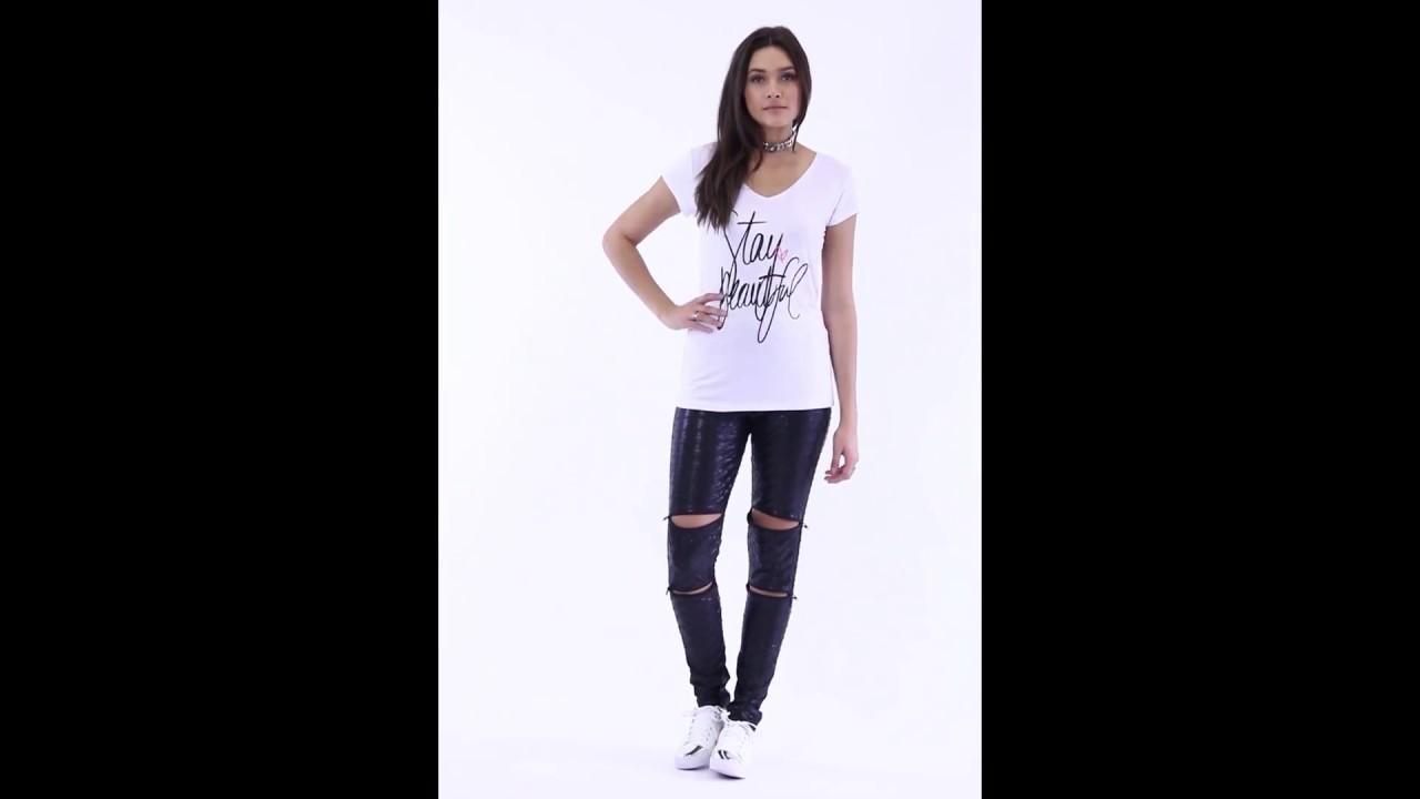 9c494e7a3 T-Shirt Decote V com Estampa e Calça Legging Zíper - Quintess | Posthaus
