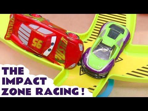 Disney Cars Toys McQueen Impact Zone Racing with Hot Wheels Superhero Vehicle Cars TT4U