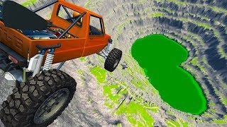 BeamNG drive - Leap Of Death Car Jumps & Falls Into Green Slime Pit