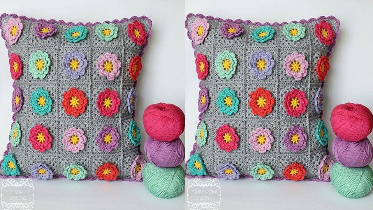Cojines nuevos dise os hechos de lana y hilo tejidos a crochet el paso a paso n 04 youtube - Cojines de lana ...