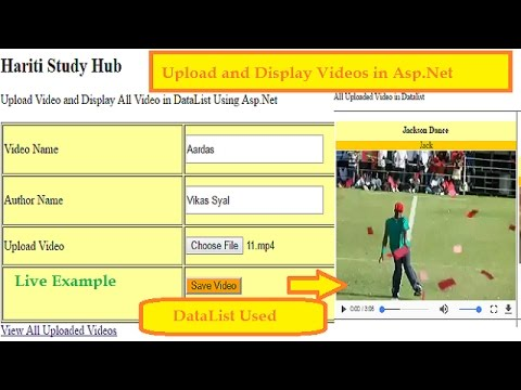 Upload  Videos  and Display All  Videos From Database Using DataList Control in Asp.Net C# | Hindi