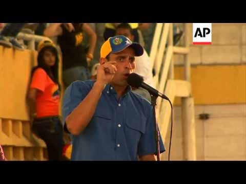 Opposition candidate Henrique Capriles campaigns ahead of presidential election