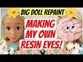 MAKING INSERTED RESIN EYES FROM SCRATCH / REPAINTING CUTE BIG DOLL HEAD / Tutorial #art #dolls #toys