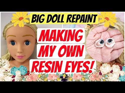 MAKING INSERTED RESIN EYES FROM SCRATCH / REPAINTING CUTE BIG DOLL HEAD / Tutorial #art #dolls #toys thumbnail