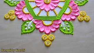 Rangoli designs with colours l Vinayaka Chaturthi fork rangoli l rangoli design l रंगोली की वीडियो