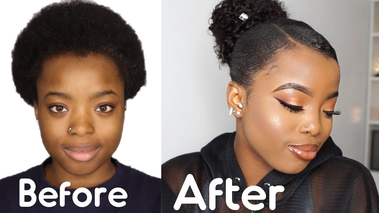Sleek Weave Ponytail On Short 4c Natural Hair Ft Unice Hair Giveaway Youtube