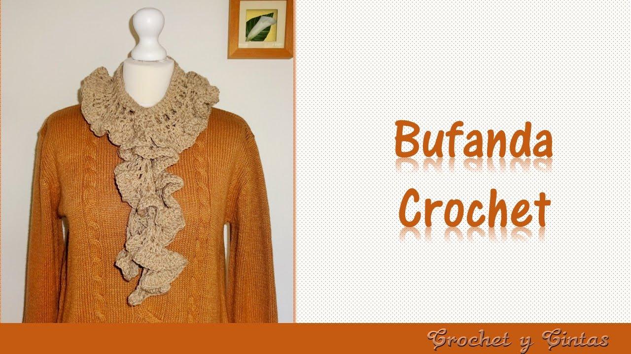Bufanda fruncida con abanicos a crochet - YouTube