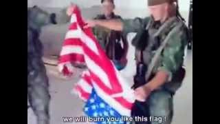 Российские солдаты ВДВ%2C сожгли флаг Америки  В Грузии 2008 год  Во время Российско Грузинской войн