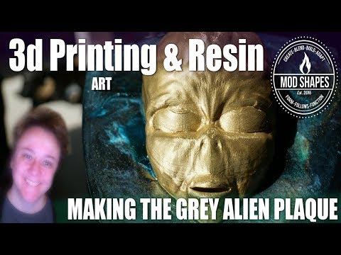 Alien Head Plaque DIY from 3d printed plastic, scrap MDF board & resin