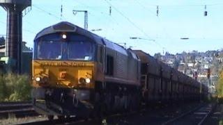 British Rail Class 66 HHP 29 001 mit Kohlezug Siegen/Ost - Okt. 2003
