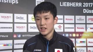 男子シングルス1回戦 張本智和 試合後インタビュー