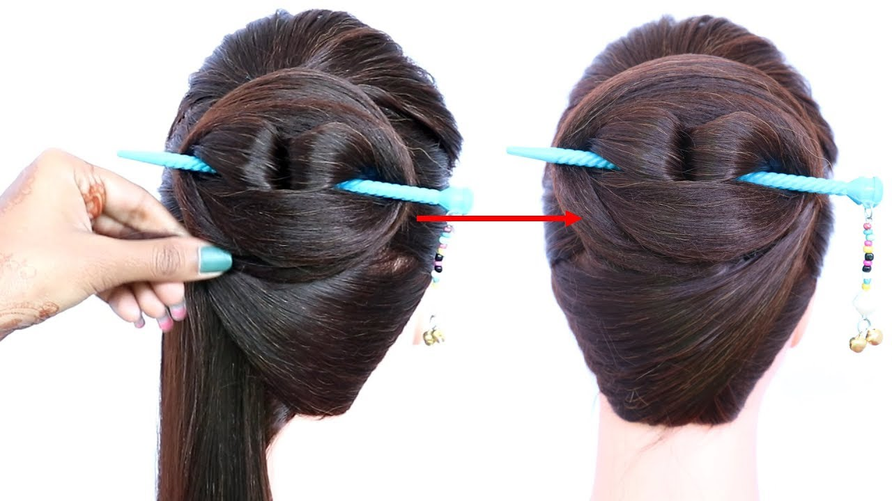 Chinese Bun Hairstyle With Using Bun Stick For Summer Chignon Bun Formal Hairstyle Hairstyle