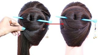 chinese bun hairstyle with using bun stick for summer | chignon bun | formal hairstyle | hairstyle thumbnail