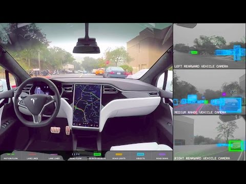 Tesla - Fully Autonomous Self-Driving Car Testing [1080p]