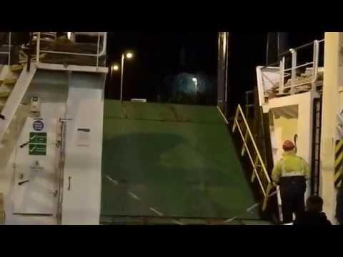 MV Coruisk lowering her ramp at the Dunoon Linkspan