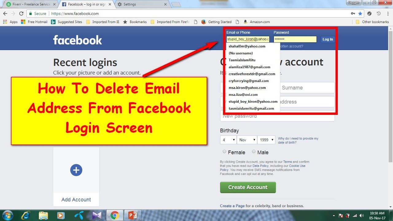 How To Delete Email Address From Facebook Login Screen