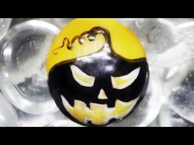 How To Create Black Pumpkin Silly Faces Freehand Halloween Stone Art Design 2020