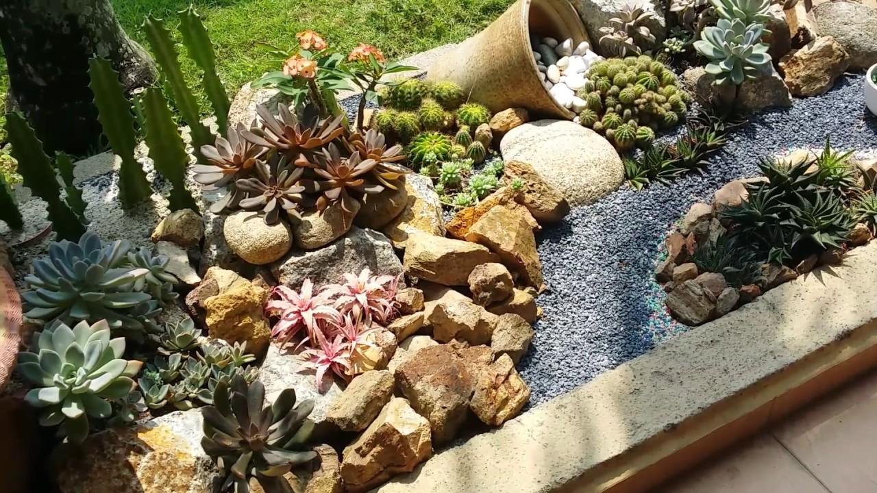 Natural Look Of My Succulents Rock Garden Youtube