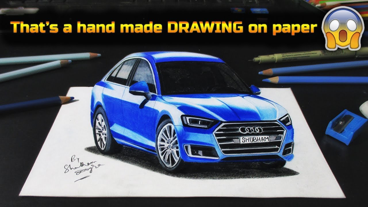 Realistic car drawing audi a8 2018 how to draw a 3d car how to do 3d drawing