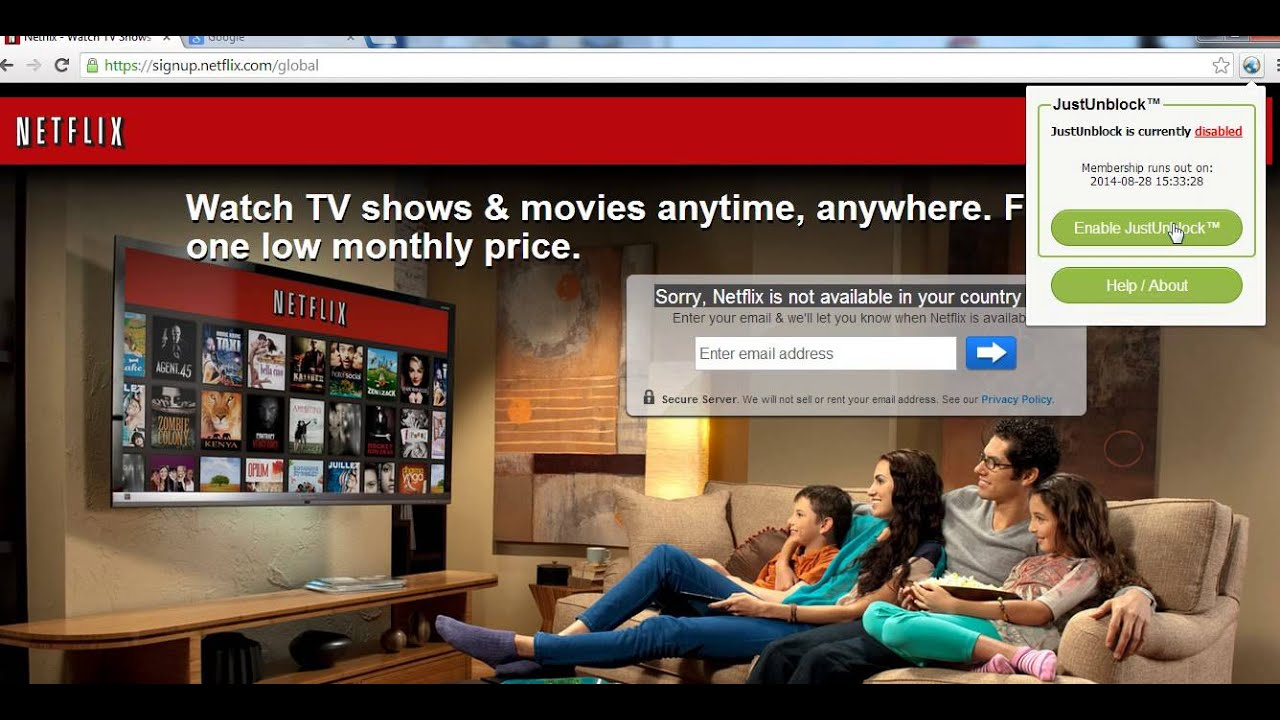 Just Unblock Netflix Chrome extension in action