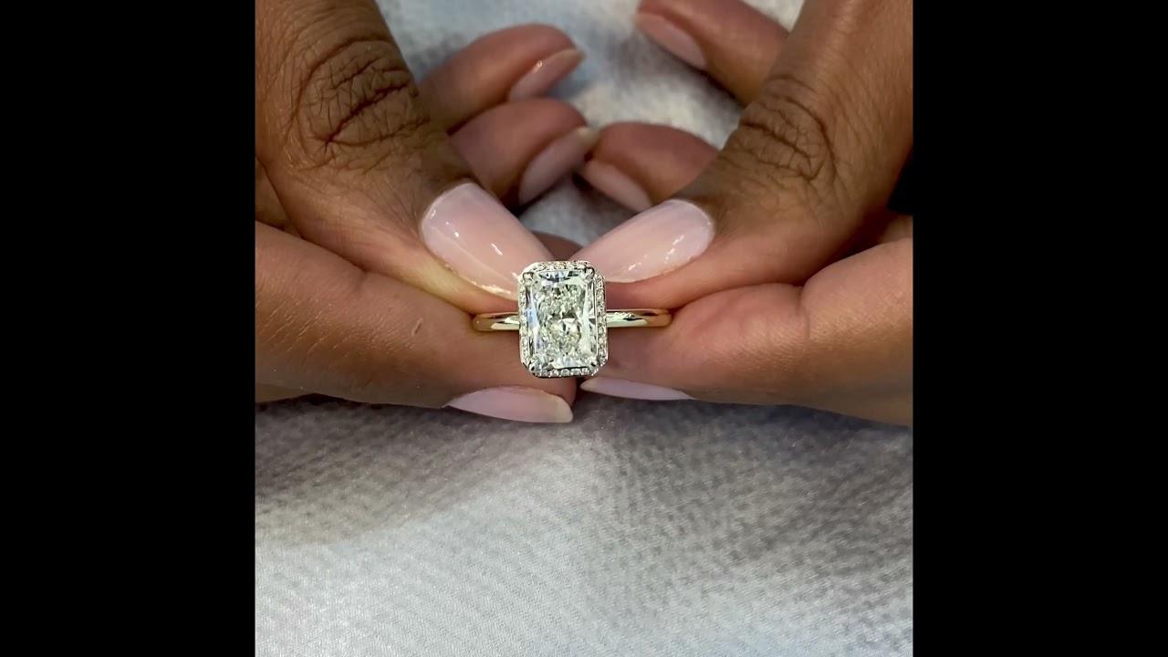 2 Carat Lab Grown Radiant Cut Diamond Hidden Halo Design