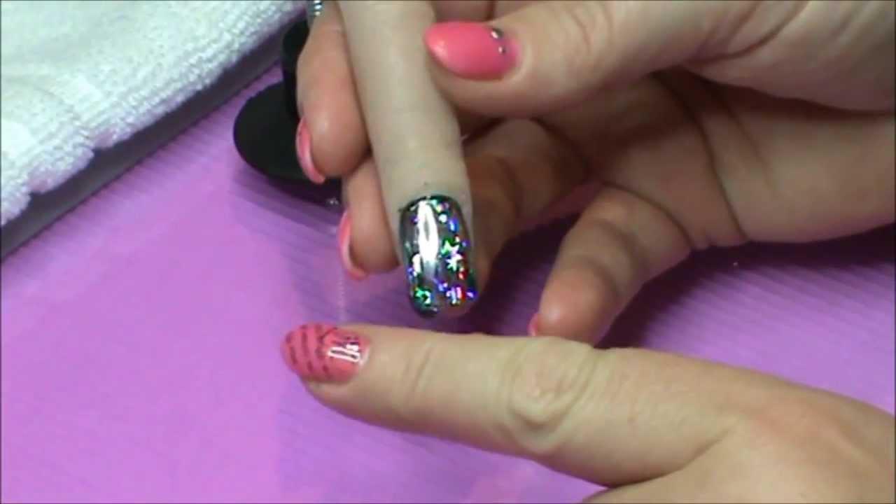 How To: Foil Application on UV Gel Polish - YouTube