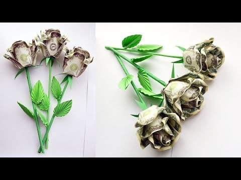How To Assemble A MONEY ROSE With A Stem And Leaves | BOUQUET OF ROSES | Dollar Gift | Tutorial DIY