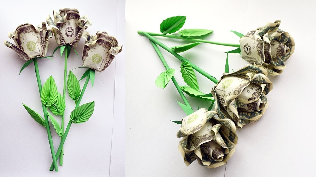 How to assemble a MONEY ROSE with a stem and leaves | BOUQUET OF ...