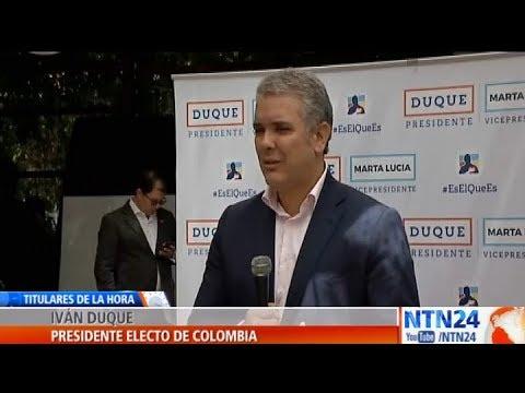 """Presidente electo de Colombia, Iván Duque, presionará por """"elecciones libres"""" en Venezuela"""