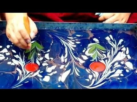Painting on Water for Paper Marbling and Ebru Art technique