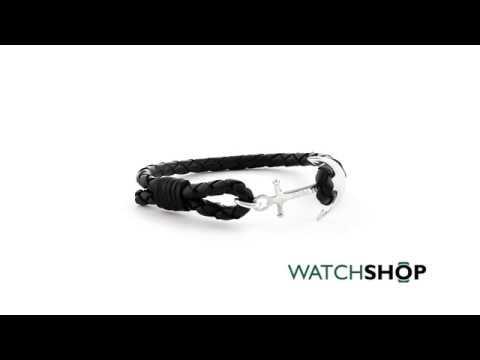 9d8383e5f8101 Mens Tom Hope Sterling Silver Jet Black Bracelet Size M (TM0201)
