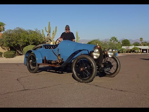 1913 Bugatti Type 22 Grand Prix Style Blue Race Car & Engine Sound - My Car Story with Lou Costabile
